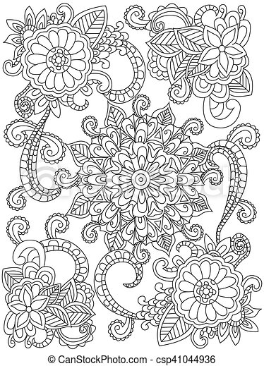 Mandala flower coloring vector for adults. Mandala flower coloring ...