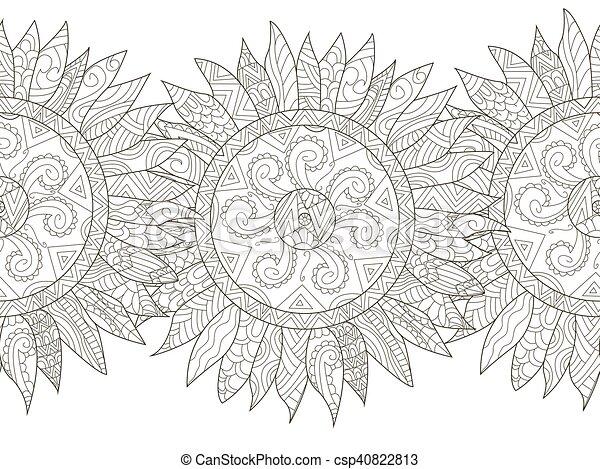 Mandala flower sunflower coloring seamless vector for ...