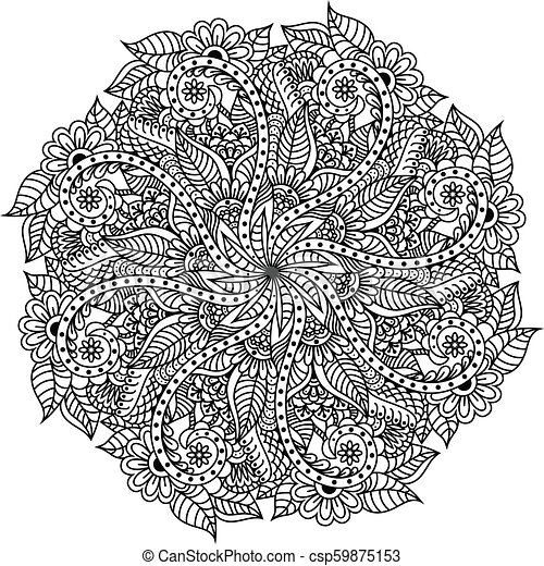 Mandala Hand Drawn Backdrop Vector For Coloring Page For Adults