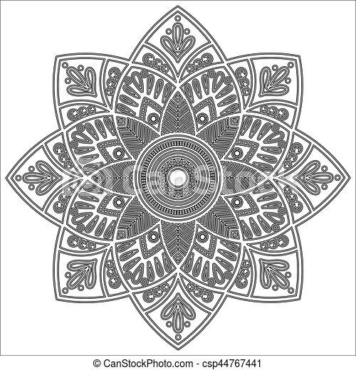 Mandala Indian Antistress Medallion Abstract Islamic Flower Arabic Henna Design Yoga Symbol