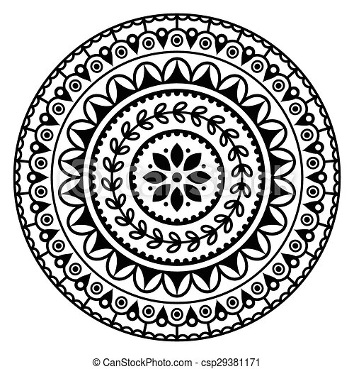 Mandala Indian Inspired Pattern Black Abstract Pattern