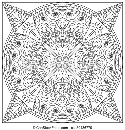mandala into the square - csp39436770