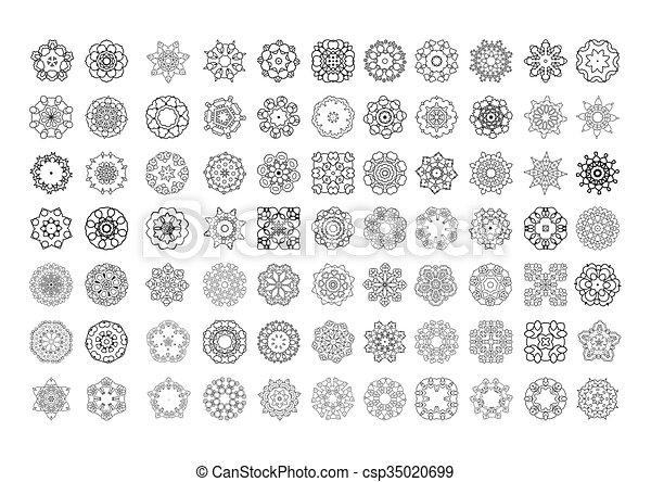 mandala., ornament, ronde, set. - csp35020699