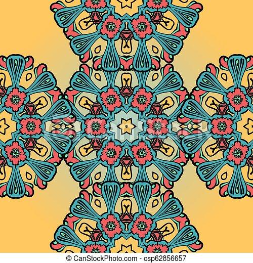 Patrón de mandala sin daños en el fondo de henna - csp62856657