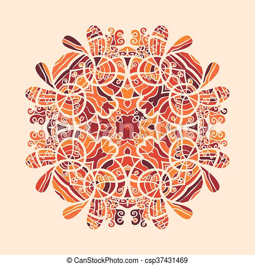 mandala print orange color mandala print orange colour round
