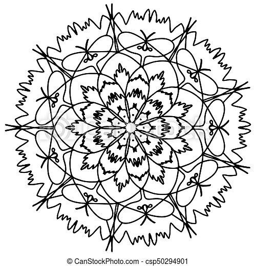Mandala, raster, färbung, erwachsene, blume. Raster ...