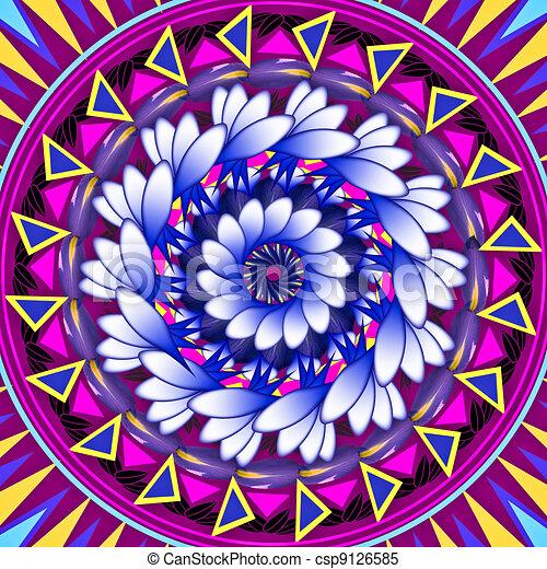 Mandala Round Ornament Pattern Floral Drawing - csp9126585