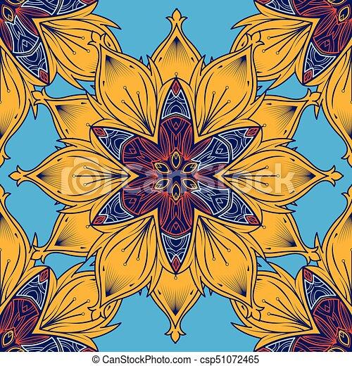Mandala Seamless Pattern Color Flower