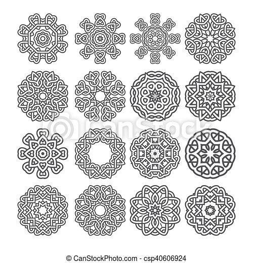 mandala vecteur motif coeur fleur motif mod le symbole illustration vecteur ensemble. Black Bedroom Furniture Sets. Home Design Ideas
