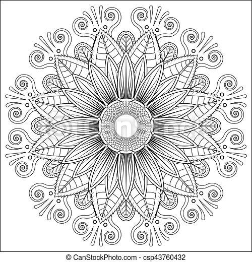 Mandala Vector Floral Flower Oriental Coloring Book Page Illustration