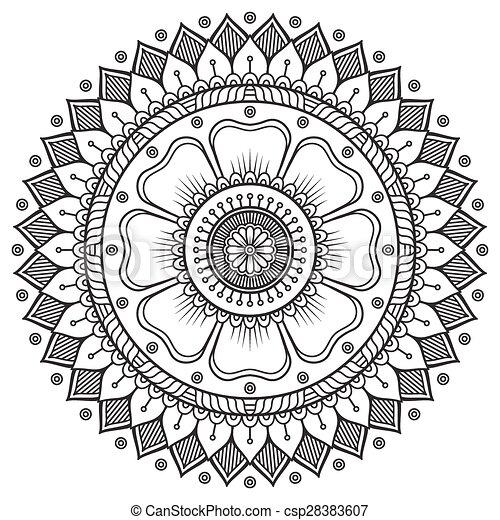 vector mandala. runder schmuck im ethnischen stil. hand ziehen.
