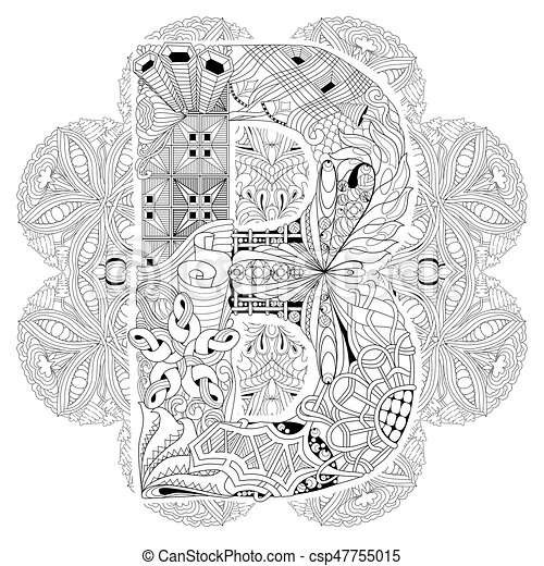 Mandala With Letter B For Coloring Vector Decorative Zentangle
