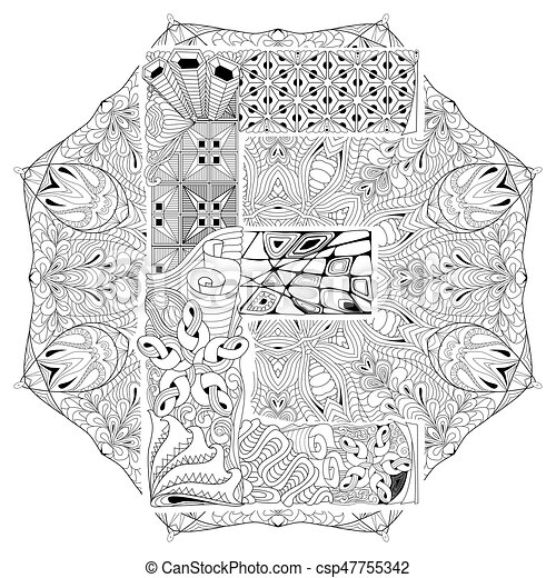 Mandala With Letter E For Coloring Vector Decorative Zentangle