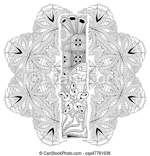 Mandala With Letter I For Coloring Vector Decorative Zentangle