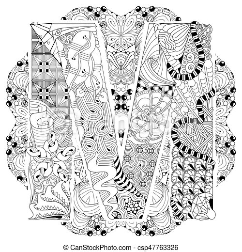 mandala with letter m for coloring vector decorative zentangle hand painted art design adult. Black Bedroom Furniture Sets. Home Design Ideas