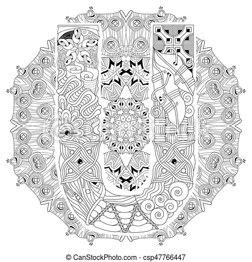 Mandala With Letter U For Coloring Vector Decorative Zentangle