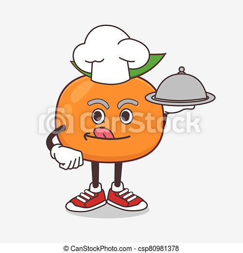 Mandarin Fruit cartoon mascot character as a Chef with food on tray ready to serve - csp80981378