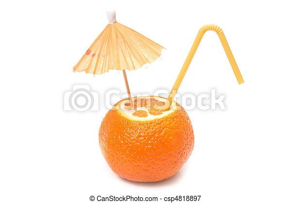 mandarin with umbrella and straw - csp4818897