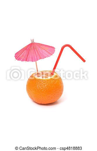 mandarin with umbrella and straw - csp4818883