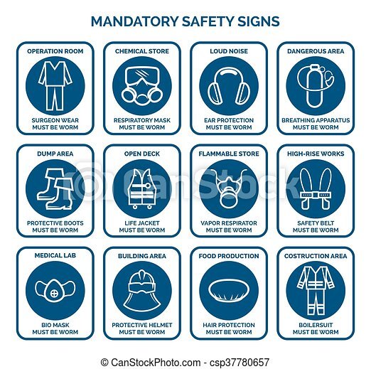 Mandatory Health Safety Signs Work Safety Equipment Logo Vector