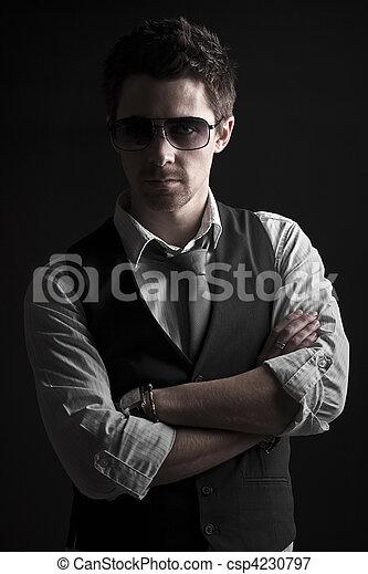 mandlig, sunglasses, pæn - csp4230797