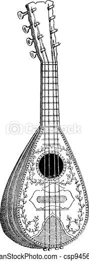Mandolin, vintage engraving - csp9456743