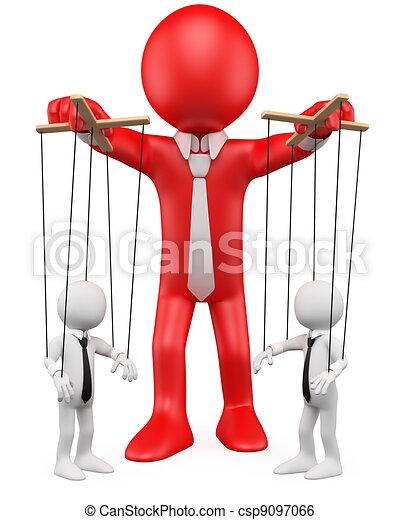 Empresario 3D manejando a sus empleados como marionetas - csp9097066