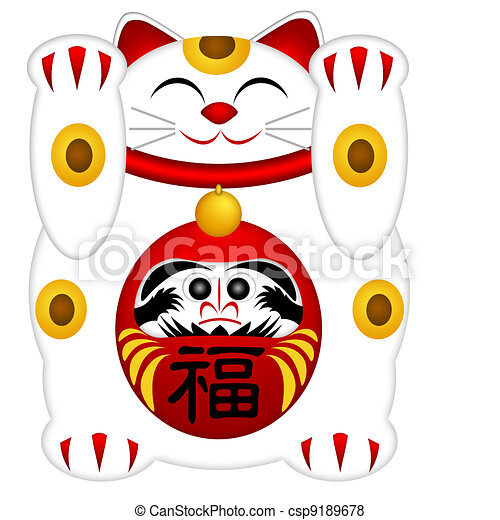 Maneki Neko Welcoming Cat with Daruma - csp9189678