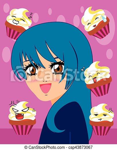 manga girl with kawaii cupcakes - csp43873067