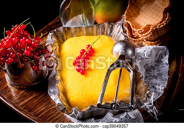 manga, groselha, caseiro, sorvete - csp39049357