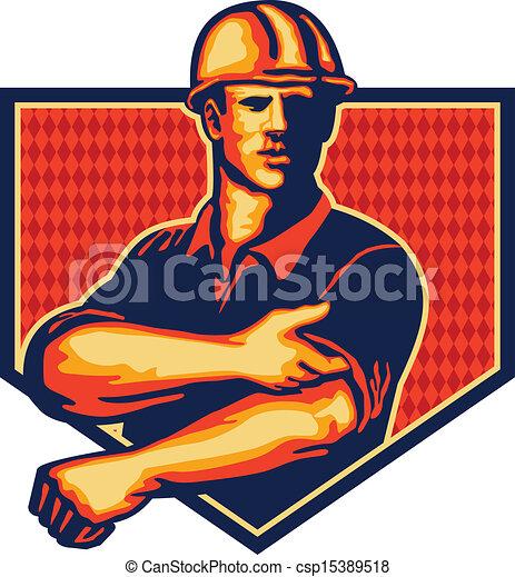 Trabajador de construcción remangado retro - csp15389518