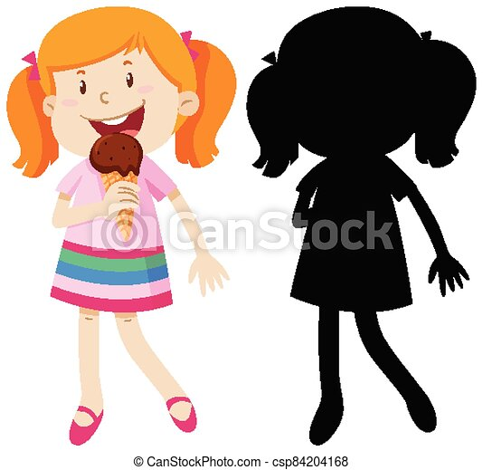 manger, couleur, girl, crème, silhouette, glace - csp84204168