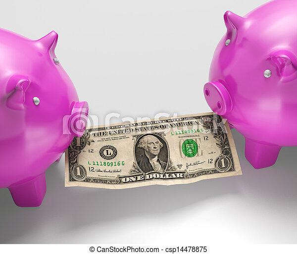 manger, piggybanks, argent, projection, monétaire, perd - csp14478875