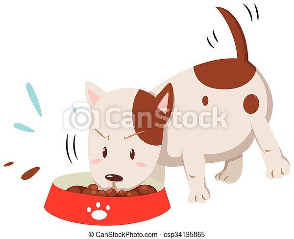 Mangiare Poco Ciotola Cane Illustrazione