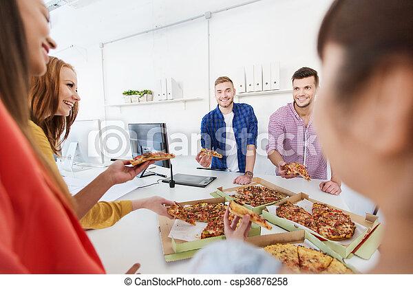 mangiare, ufficio, squadra affari, felice, pizza - csp36876258