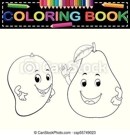 mango and avocado with face coloring book - csp55749023