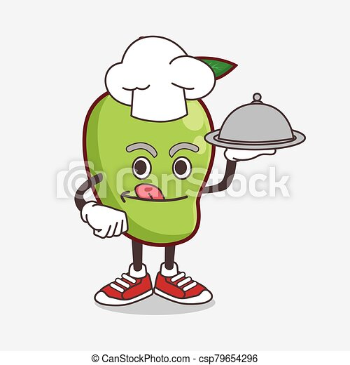 Mango Fruit cartoon mascot character as a Chef with food on tray ready to serve - csp79654296
