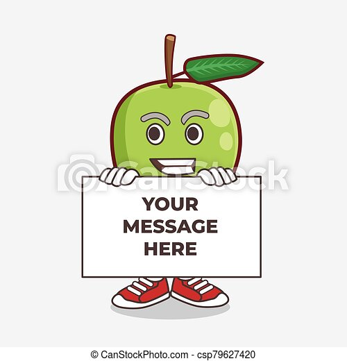 Mango Fruit cartoon mascot character with funny face hides behind a board - csp79627420