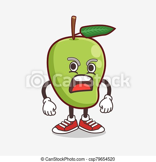 Mango Fruit cartoon mascot character with angry face - csp79654520