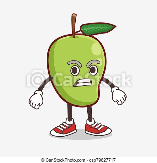Mango Fruit cartoon mascot character with angry face - csp79627717