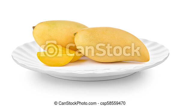 mango in plate on white background - csp58559470