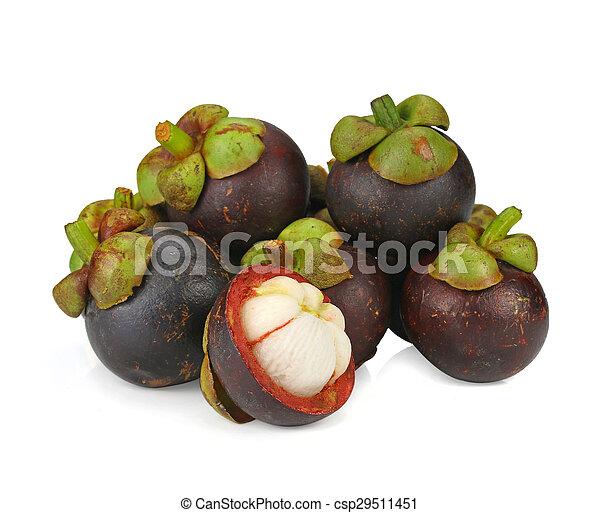 mangosteen fruit on white background - csp29511451