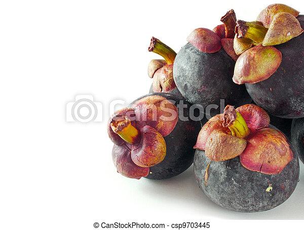 Mangosteen fruit on white background - csp9703445