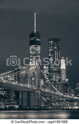 Manhattan at night - csp41961688