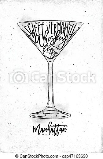 Manhattan Cocktail Lettering Angostura Sweet Vermouth Whiskey Cherry In Vintage Graphic Style Drawing On Dirty Paper Canstock