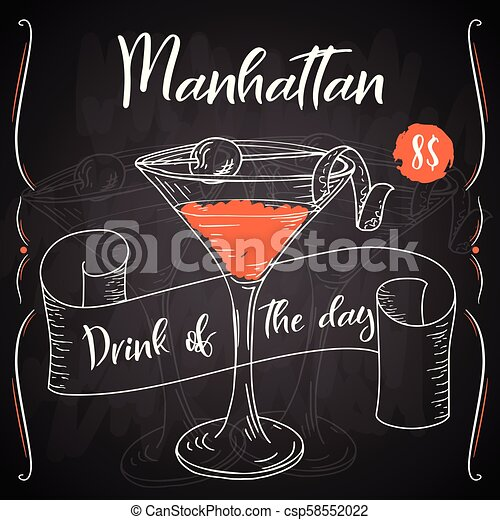 Manhattan Cocktail Hand Drawn Drink On White Background Vector Illustration Canstock