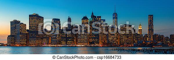 Manhattan. Evening New York City skyline panorama - csp16684733