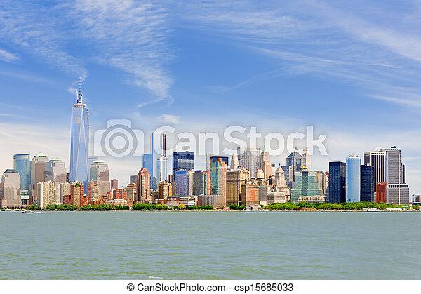 Manhattan in a cloudy june day - csp15685033