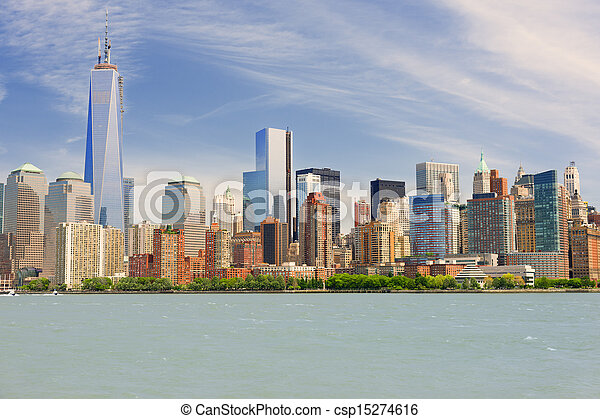 Manhattan in a cloudy summer day - csp15274616