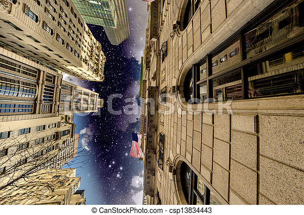 Manhattan, New York City. Wonderful night view of Tall Skyscrape - csp13834443